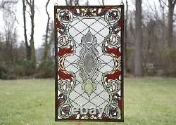 21W x 35.5H Handcrafted Beveled stained glass window panel