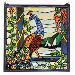 22.5 Vibrant Peacock Cabochons & Hand Crafted Stained Glass Window Panel