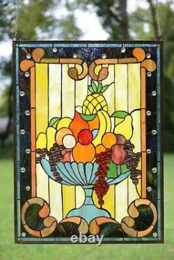 22 X 30 Handcrafted stained glass window panel Fruit Basket Grape, Apple Etc