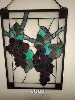 23.5 x 18 Large Handcrafted stained glass window panel Grape With Vine chain