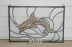 24.25 x 16.5 Handcrafted stained glass Clear Beveled Dolphin window panel