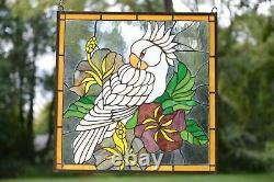 24.75 x 24.75 Handcrafted stained glass window panel Parrot White Cockatoo