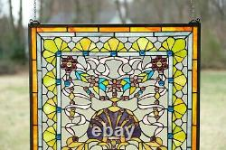 24 x 24 Colorful Handcrafted stained glass Jeweled window panel! 104G