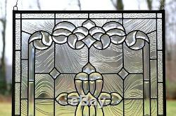 24 x 28 Stunning Handcrafted stained glass Clear Beveled window panel