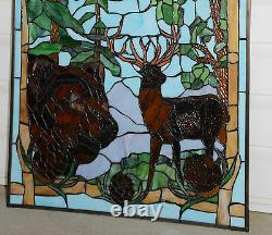 24 x 36 Bald Eagle Bear and Deer Handcrafted stained glass window panel