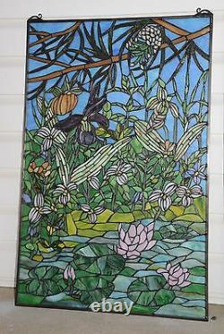 24 x 36 Lily Pond Lotus Handcrafted stained glass window panel