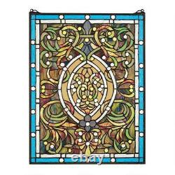 25 Beaux Arts Style Golds Blues Greens Hand Crafted Stained Glass Window Panel