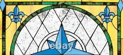 28 x 26 Winds Compass Fleur de Lis Hand Crafted Stained Glass Cabochons Window