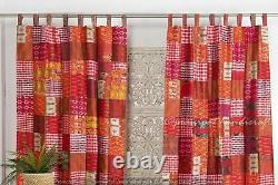 2PC of Set Indian Patchwork Silk Window Drapes Red Hippie Dorm Decor Curtains