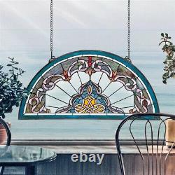 32.5 Half Moon Victorian Style Stained Glass Window