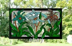 34.75 x 20.5 Handcrafted stained glass window panel Iris Flowers