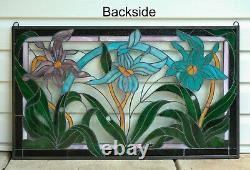 34.75L x 20.5H Handcrafted stained glass window panel Iris Flowers