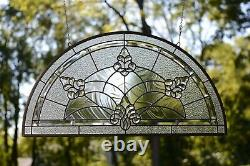 34 x 18 Stunning Handcrafted stained glass Clear Beveled window panel