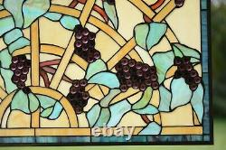 34 x 20 Home Decor Jeweled Handcrafted stained glass window panel Grape vine