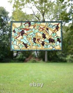 34 x 20 Lg Handcrafted Jeweled Handcrafted stained glass window panel Grape