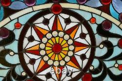 34L x 18H Half Round Handcrafted stained glass window Jeweled Glass panel