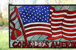 34L x 20H Handcrafted stained glass window panel American Flag Art Glass Panel