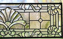36 x 12 Stunning Handcrafted All Clear stained glass Beveled window panel
