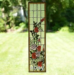 9 x 36 Handcrafted stained glass window panel Rose Flowers