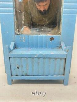 Ancient Wood Hand Crafted Blue Painted Bathroom Hanging Dressing Mirror With Box