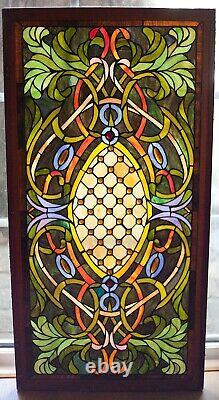 Antique Stained Leaded Glass Window Panel Hand Crafted 20¾ x 40½ framed
