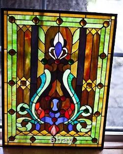 Antique stained leaded glass window panel hand crafted 25x19