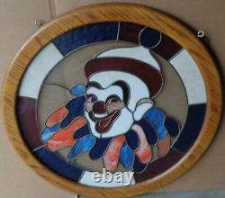 Beautiful Hand-Crafted Round-Stained Leaded Glass Window Clown Wooden Frame