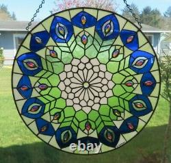 Bejeweled Handcrafted Round Victorian Blue, Green, White Stained Glass /New