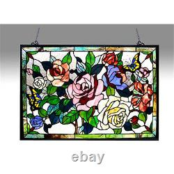 Butterfly Roses Tiffany Stained Glass Window Panel 27x19 Handcrafted Suncatcher