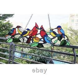 Chloe Lighting Tiffany Style Stained Glass Multi Colored Bird Window Panel