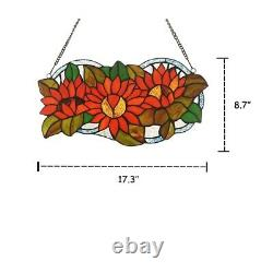 DAHLIA Floral Tiffany-glass Window Panel 17 Wide Multi-Colored Handcrafted