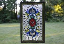 Decorative Jeweled Handcrafted stained glass panel, 20.5 x 34.5