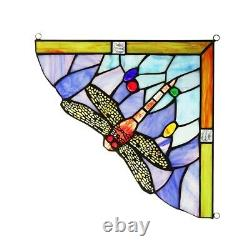 Dragonfly Tiffany Style Stained Glass Corner Window Panels 10 Handcrafted PAIR