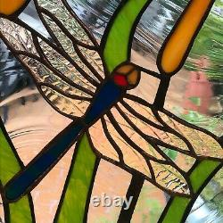 Dragonfly and Cattail Stained Glass art, handcrafted