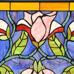 Floral Design Tiffany Style Stained Glass Window Panel Suncatcher Handcrafted