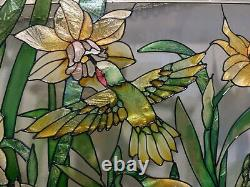 Floral Hummingbird Stained Glass Window Panel Handcrafted 16.5x10.5