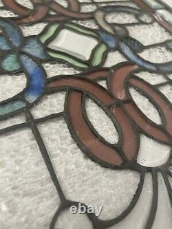 GORGEOUS Hand crafted Stained Glass Panel VINTAGE possible ANTIQUE