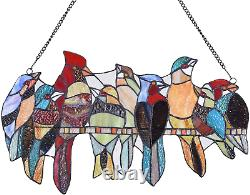 Glass Panel, Handcrafted 8 Birds on a Wire Stained Glass