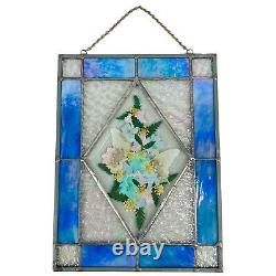 HANDCRAFTED Stained Glass Panel Pressed Flowers Butterfly Window Sun Catcher