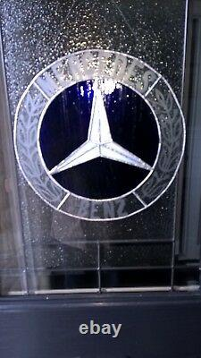 Hand Crafted etched and colored glass Mercedes Benz logo panel. 14 3/4 Diameter