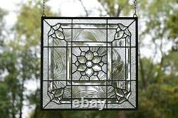 Handcrafted All Clear stained glass Beveled window panel 20 x 20