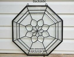Handcrafted All Clear stained glass Octagon Beveled window panel 20 x 20
