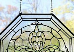 Handcrafted All Clear stained glass Octagon Beveled window panel 24 x 24