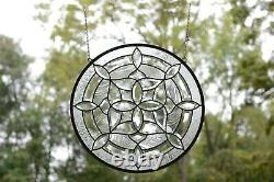 Handcrafted All Clear stained glass Round Beveled window panel 21 Dia