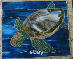 Handcrafted Art Glass Mosaic Turtle Wall Hanging/Panel/New
