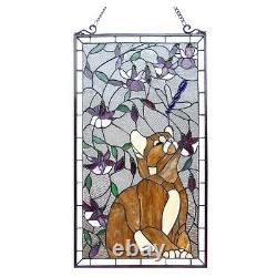 Handcrafted Cat & Dragonfly Tiffany Style Stained Glass Window Panel 18 x 31
