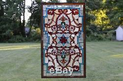 Handcrafted Jeweled Beveled stained glass window panel. 20.5W x 34.5H