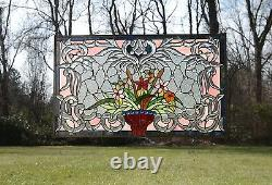 Handcrafted Jeweled Beveled stained glass window panel Flower 34.75L x 20.75