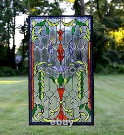 Handcrafted Jeweled stained glass window panel. 20.5W x 34.5H