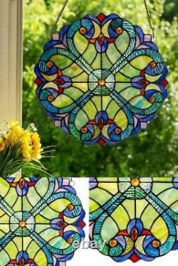 Handcrafted Multi Stained Glass Mini Halston Window Panel Seas of Blue Green